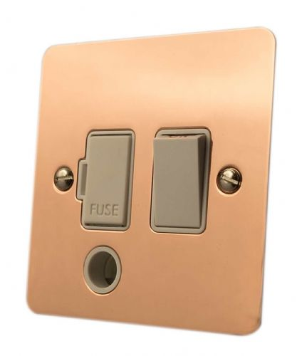 G&H FBC56W Flat Plate Bright Copper 1 Gang Fused Spur 13A Switched & Flex Outlet